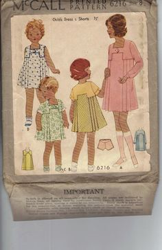 Vintage 1930's Girl's Dress Pattern McCall by AtomicRegeneration