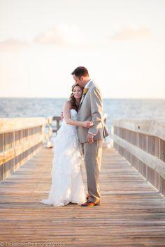 bride and groom at the pier of @Casa Marina /The Reach Resort  - beautiful wedding #keywest #wedding