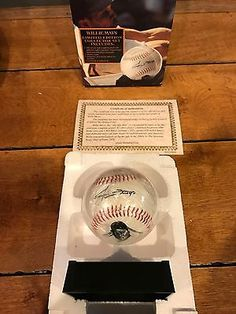 WILLIE MAYS REPLICA SIGNED BASEBALL ALLSTAR HEROES W/ COA DISPLAY STAND NIB