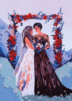 Cute Lesbian Couples, Lesbian Art, Gay Art, Dibujos Tumblr A Color, Queer Art, Art Anime, Couple Art, Cute Gay, Pretty Art