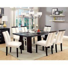 Furniture of America Lumina 7-Piece Light Up Two-Tone Dining Set (Black), Size 7-Piece Sets