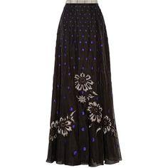 Temperley London Josette embellished polka-dot silk-organza maxi skirt