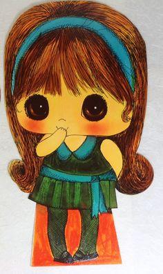 Vintage Big Eye Girl Illustration