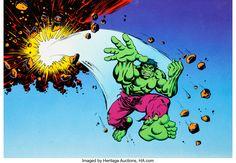 The Incredible Hulk Production Cel (Marvel, Hulk does some proper smashing in this giant hand painted - Available at Sunday Internet Comics Auction. Marvel Cartoons, Incredible Hulk, 1990s, Auction, The Incredibles, Hand Painted, Animation, Comics, Animation Movies