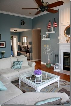 Interior Design Living Room Paint Colors - Josh and Derek Valspar Blue, Valspar Paint Colors, Room Paint Colors, Paint Colors For Living Room, Paint Colors For Home, My Living Room, Home And Living, Living Room Decor, Blue Living Room Walls