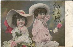 "Little boy and little girl Holding flowers ""I Love The For Ever"" Vintage Postcard 1908"