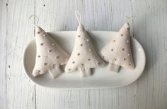 One Sweet Linen Tree Ornament by allthingswhite on Etsy, $8.00