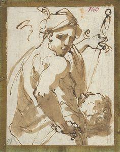 Ubaldo Gandolfi (1728–1781), Judith with the Head of Holofernes;  Brown pen and ink wash   The Metropolitan Museum of Art