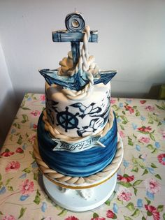 Hand painted nautical cake