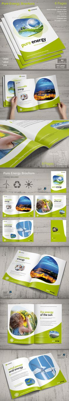 Brochure Pure Energy Design Template - Informational Brochures Template InDesign INDD. Download here: https://graphicriver.net/item/brochure-pure-energy/13360535?s_rank=1797&ref=yinkira