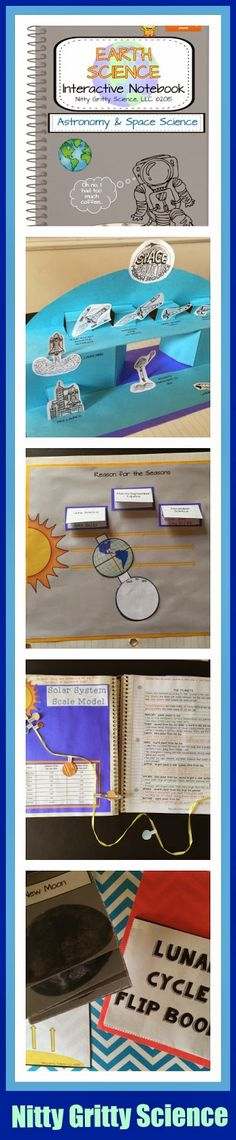 Science Interactive Notebook, Earth Science, Solar System, Lunar Cycle, Seasons, Sun, Earth, Moon, Stars and Galaxies, Space Exploration