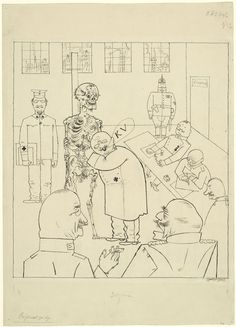 apparently ahead of his time! - Fit for Active Service (1918). Drawing by George Grosz.