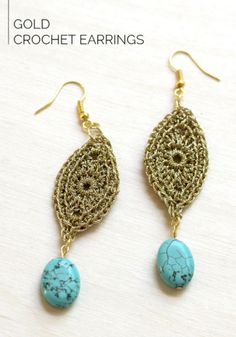 Golden Dazzle Earrings Use silver fittings and silver metallic thread to make a Southwestern look