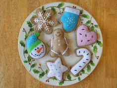 Christmas Felt Ornament - Snowman Cookie Set.  Photo only.  Photo can be used as a reference for cute felt ornaments idea.