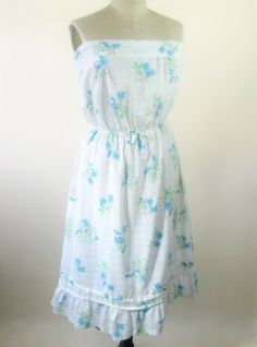 70s White Sundress Strapless Blue Floral by BijouVintageBazaar, $27.99