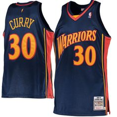 7aa9a68e5 Stephen Curry Golden State Warriors Mitchell   Ness 2009-10 Hardwood  Classics Rookie Authentic Jersey - Navy