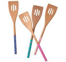 Rice Holz-Pfannenwender mit bedrucktem Stil - vier Muster zur Auswahl