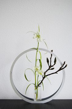 Modern ikebana with Magnolia and white Fritillary