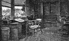 "Samuel Luke Fildes—The Empty Chair. Fildes was illustrating ""Edwin Drood"" at the time of Charles Dickens's death. The engraving shows Dickens's empty chair in his study at Gads Hill Place. It appeared in the Christmas 1870 edition of the The Graphic and thousands of prints of it were sold.[106"