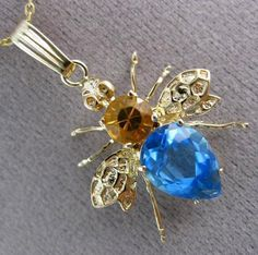 ESTATE LARGE 2.30CT CITRINE & BLUE TOPAZ 14KT YELLOW GOLD FUN FLY PENDANT #3007