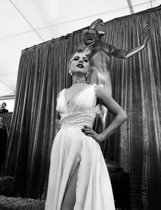 Stunning shot of Lady Gaga standing in front of the Screen Actor's Guild Award statuette 'The Actor'. Lady Gaga Photos, A Star Is Born, Bradley Cooper, Beautiful Person, Celebs, Celebrities, Actors, People, Clothes