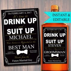 EDITABLE Groomsman, Best Man Ask Printable Whiskey label, Best Man Proposal, Will You Be My Groomsman Gift, Whiskey Label, INSTANT DOWNLOAD