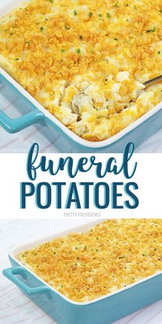 Funeral Potatoes (AKA Cheesy Potato Casserole) This Funeral Potatoes recipe (also known as Cheesy Potato Casserole) with hash browns and corn flake topping is so amazing! It's easy and makes the perfect potato side dish for pot lucks or holiday dinners! Potluck Side Dishes, Potluck Recipes, Side Dishes Easy, Side Dish Recipes, Dinner Recipes, Easter Recipes, Potluck Meals, Easter Side Dishes, Healthy Recipes