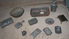 Lot of Metal 1890s Dollhouse Kitchen Utensils and Dishes $ 65