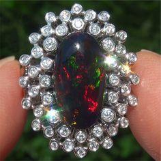 4.59 ct Australian Black Opal Diamond Vintage Ring 14k White Gold GEM