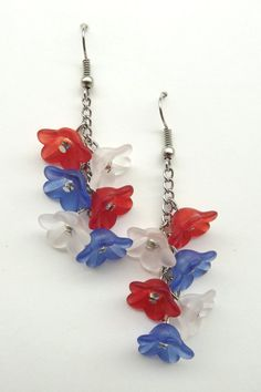 Red White and Blue Dangle Flower Earrings by PyroLilly on Etsy