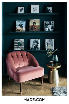 Art Deco cocktail chair in millennial pink velvet and brass capped legs. Step inside the South West London Home of Sommer Pyne to see more interior inspiration.