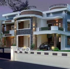 Decoracion Home Stairs Design, Home Building Design, Bungalow House Design, House Front Design, Modern Exterior House Designs, Modern Villa Design, Cool House Designs, Exterior Design, Dream House Plans