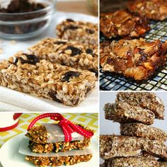 Healthy Granola Bar Recipes.. so much better knowing what's in them instead of corn syrup or ingredients you can't pronounce