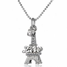 megko Bling Crystal Rhinestone Music Note Pendant Necklace for Girls with Silver Chains (clear tower)