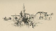 Pen & Ink rendering by Bertram Goodhue