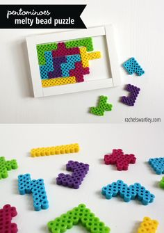 DIY Pentominoes Melty Bead Puzzle - what a fun way of using Hama beads! (frame / contained made from foam board)