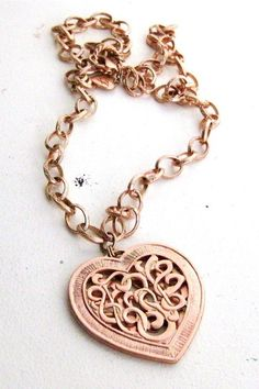Vintage Betsey Johnson Chain Necklace, Large Heart Pendant