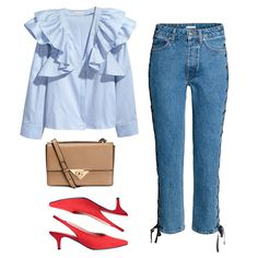 - Effortless yet polished, this ruffled blouse and lace-up denim pairing is the perfect marriage of off-duty and fashion-forward. Throw on bright slingback pumps for color and a neutral structured cross-body bag to temper the trends.
