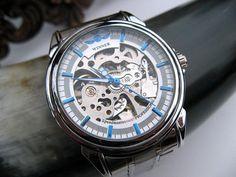 Classico da polso meccanico orologio argento e di ArtInspiredGifts, $56.00