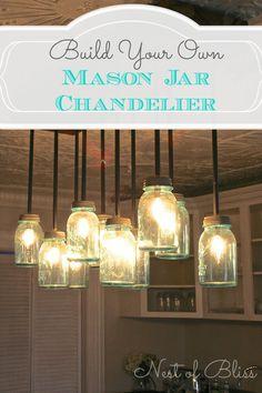 Build it: DIY Mason Jar Chandelier from Nest of Bliss!  #mason #diy