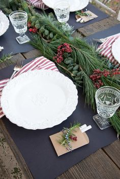 Hosting dinner parties is one of my favorite things to do; I love any opportunity to gather around a table and share a meal with friends and family. Given the season, I'd venture to guess that you hav Christmas Table Settings, Christmas Tablescapes, Christmas Table Decorations, Holiday Tables, Thanksgiving Table, Christmas Tea, Rustic Christmas, All Things Christmas, Christmas Holidays