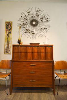 Mid Century Kent Coffey Townhouse Walnut Highboy Dresser