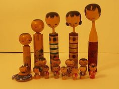 HUGE Lot 17 Vtg Kokeshi Wood Japanese Wooden Dolls Japan GREAT USED CONDITION!!!