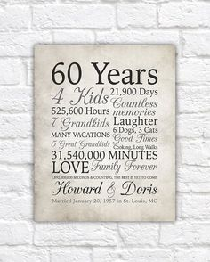 60th Anniversary Gift, 60 Years Married or Any Year, Gift for Grandma and Grandpa, Grandparents Anniversary, Parents, Diamond Gray | WF520