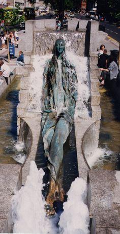 "Fountain in Dublin representing Anna Livia Plurabelle, representation of River Liffey. a character in ""Finnegans Wake"". in O'Connell Street, Dublin, Ireland."