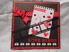 Valentine's Day Handmade card by Margaret S. Filmstrips and hearts. Square card 5x5.  2014