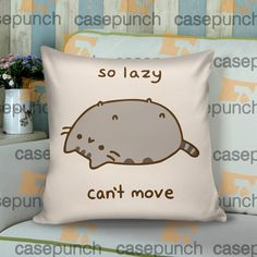 Sr4-pusheen Cat So Lazy Can't Move Cushion Pillow Case   casepunch