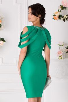 Rochie Eleganta Benzi Aplicate La Bust Aplicatii Metalice La Guler One Shoulder, Shoulder Dress, Formal Dresses, Fashion, Vestidos, Dresses For Formal, Moda, La Mode, Fasion