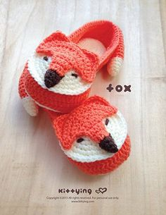 Fox Crochet Slipper Pattern in Adult sizes - I want a pair of these for Mother's Day!