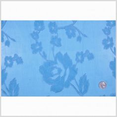Deep Sky/Lavender Floral Burnout & Lasercut Fabric by the Yard | Mood Fabrics